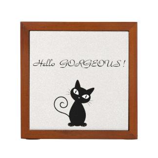 Porta Lápis Gato preto lunático subtil Glittery-Olá! lindo