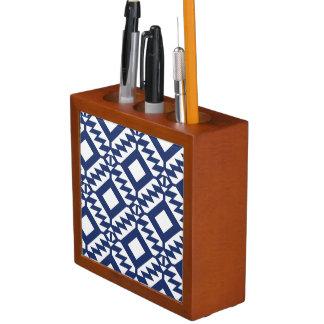 Porta-lápis Geométrico azul e branco tribal