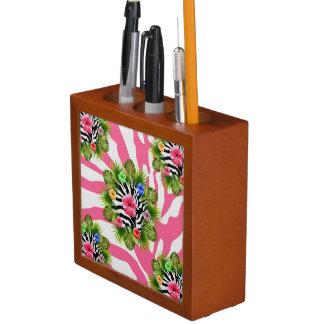 Porta-lápis Hibiscus tropical e listras cor-de-rosa exóticas