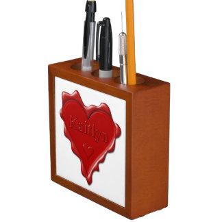 Porta-lápis Kaitlyn. Selo vermelho da cera do coração com