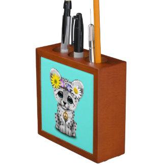 Porta-lápis Leopardo de neve bonito Cub do Hippie