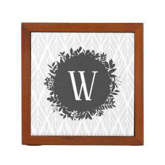 Porta-lápis Luz - monograma frondoso do cinza e o branco do
