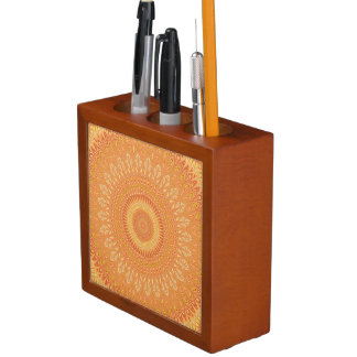 Porta-lápis Mandala alaranjada