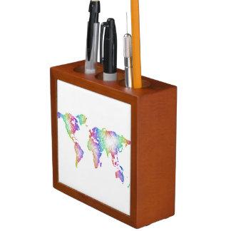 Porta Lápis Mapa do mundo do arco-íris