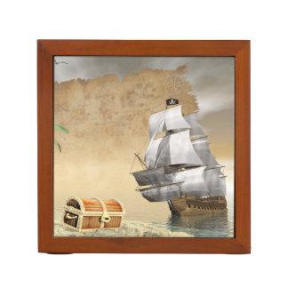 Porta Lápis Navio de pirata que encontra o tesouro - 3D rendem