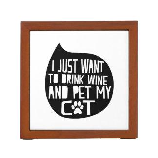 Porta-lápis O vinho da bebida e Pet meu gato