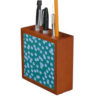 Porta-lápis Organizador azul da mesa das bolinhas