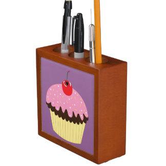 Porta-lápis Organizador cor-de-rosa da mesa do cupcake