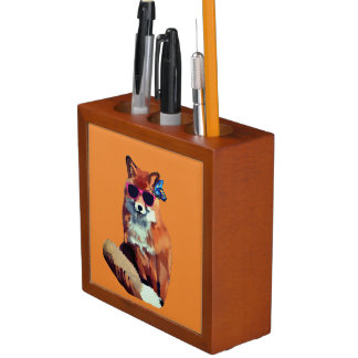 Porta Lápis Organizador da arte do Fox vermelho