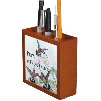 Porta-lápis Organizador da mesa da oração das flores dos