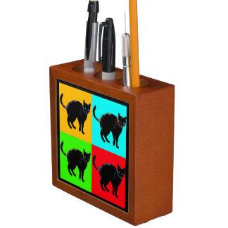 Porta-lápis Organizador da mesa do gato preto