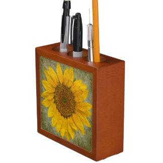 Porta-lápis Organizador da mesa do girassol do vintage