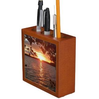 Porta-lápis Organizador da mesa do por do sol