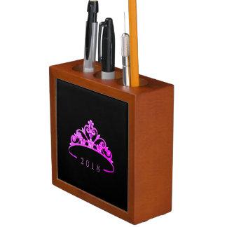 Porta-lápis Organizador-Data de madeira fúcsia da mesa da