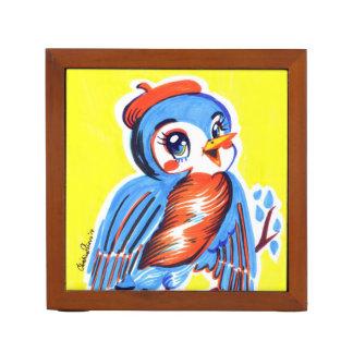 Porta Lápis Organizador retro da mesa do kitsch do Bluebird