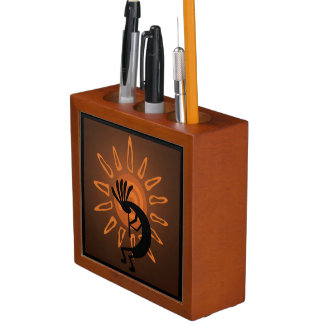 Porta-lápis Organizador rústico da mesa de Kokopelli Sun do