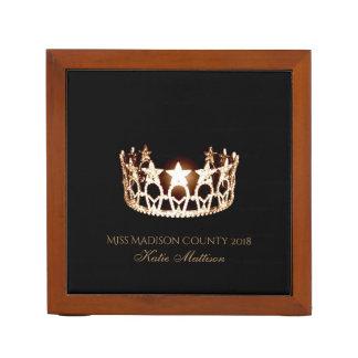 Porta-lápis Organizador-Título de madeira da mesa da coroa do