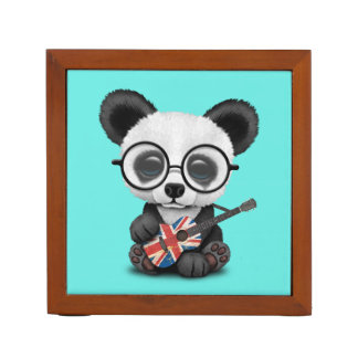 Porta-lápis Panda do bebê que joga a guitarra britânica da