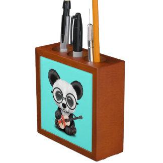 Porta-lápis Panda do bebê que joga a guitarra inglesa da