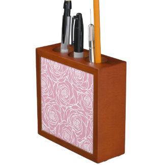 Porta Lápis Peônias, floral, branco, cor-de-rosa, teste