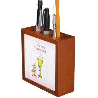 Porta-lápis Personalize comunhão santamente do rosa conhecido