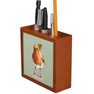Porta-lápis Pintura da aguarela do pássaro do pisco de peito