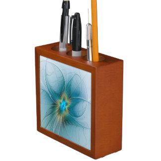 Porta Lápis Pouca flor azul moderna do Fractal do ouro da