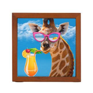 Porta-lápis Praia do girafa - girafa engraçado