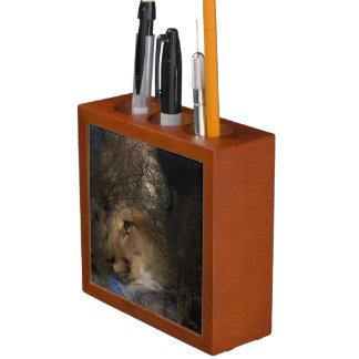 Porta Lápis Puma selvagem do leão de montanha da silhueta da
