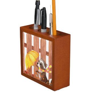Porta Lápis racoon com guarda-chuva que anda pela cerca