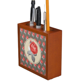Porta-lápis Rosas do vintage e teste padrão cor-de-rosa do