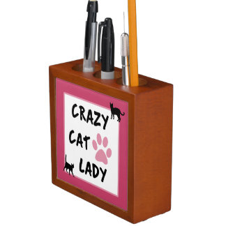 Porta Lápis Senhora louca Mesa Organizador do gato