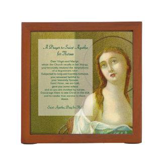 Porta Lápis St. Agatha (M 003) com oração para enfermeiras
