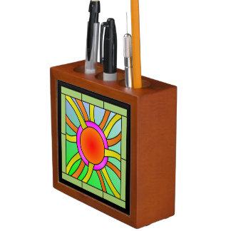 Porta-lápis Sun com arte de Deco dos raios