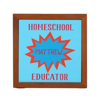 Porta Lápis Tema vermelho e azul do professor de Homeschool do