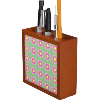 Porta-lápis Teste padrão cor-de-rosa da margarida
