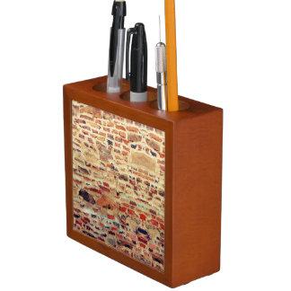 Porta-lápis Teste padrão da parede de tijolo