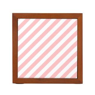 Porta-lápis Teste padrão diagonal do rosa e o branco das
