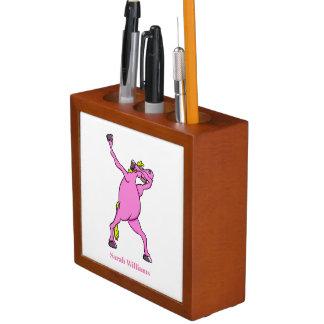 Porta-lápis Toque ligeiro cor-de-rosa do cavalo