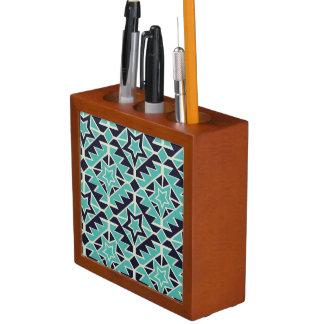 Porta-lápis Turquesa e marinho astecas