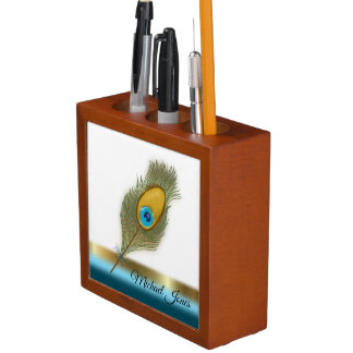 Porta-lápis Uma banda da pena e do ouro e da turquesa do pavão
