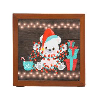 Porta-lápis Urso polar pequeno bonito com luzes de Natal