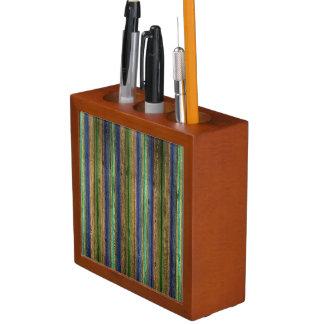 Porta Lápis vintage de madeira colorido da parede