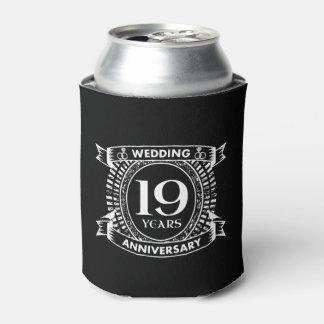 Porta-lata 19o aniversário de casamento preto e branco