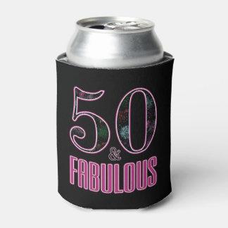 Porta-lata 50 & aniversário da tipografia cor-de-rosa preta
