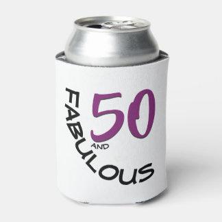 Porta-lata 50th tipografia roxa & preta do aniversário