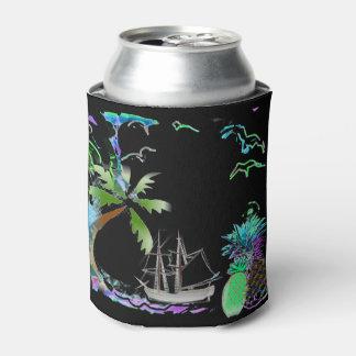 Porta-lata A brisa tropical preta e azul da ilha pode
