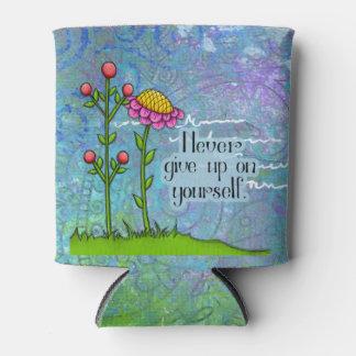 Porta-lata A flor positiva adorável do Doodle do pensamento