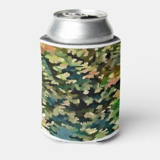 Porta-lata Abstrato da folha no verde, no pêssego e no azul