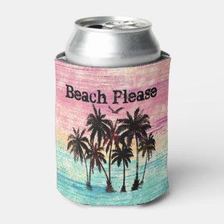 Porta-lata Aguarela Sun e palmeiras do mar